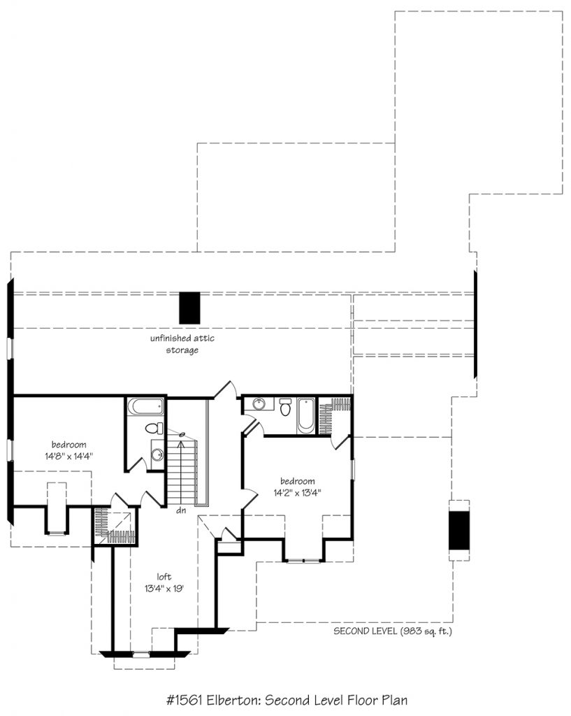 Second level floor plan.