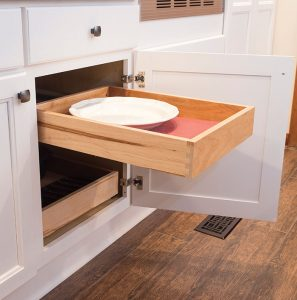 The Cooks' kitchen features several conveniences like this interior, full-extension rollout drawer with full extension guides and quiet close feature by Wellborn, available through Kitchen Bath Concepts.