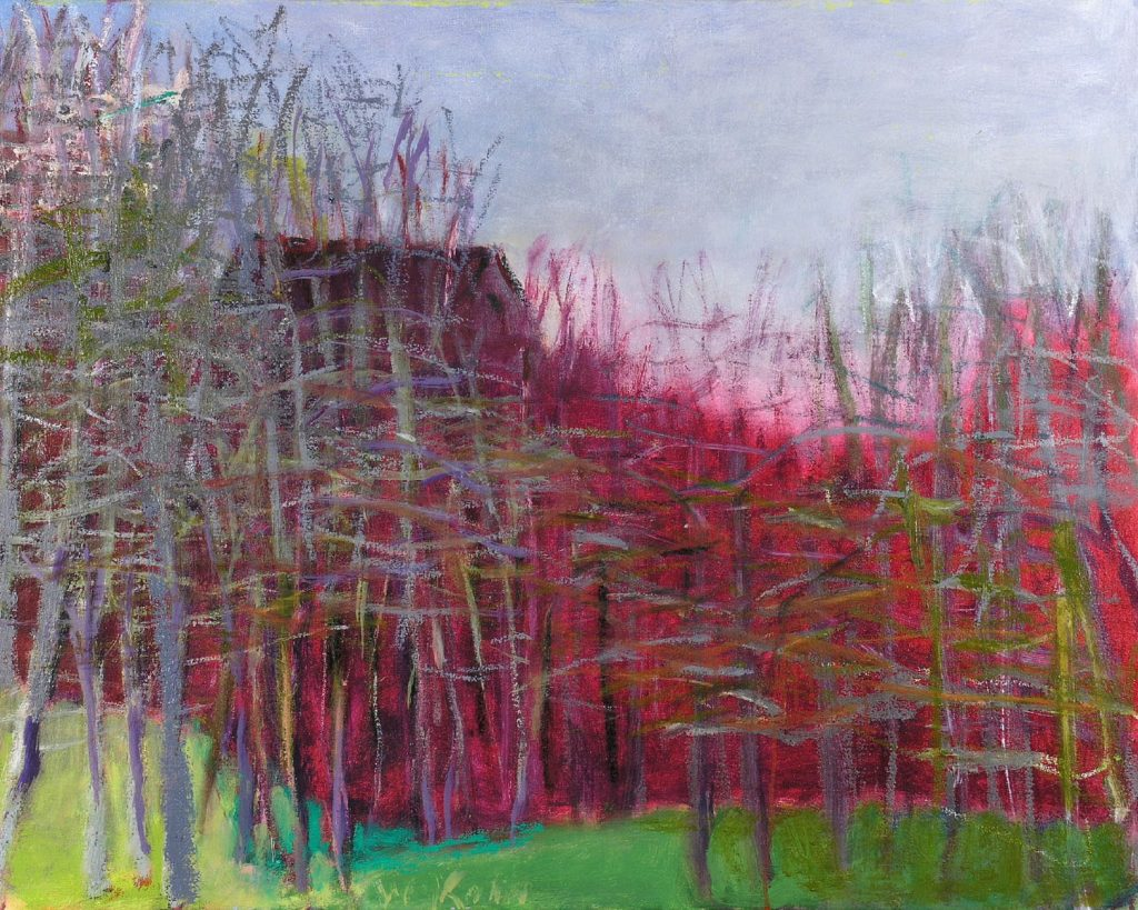 Autumnal Trees Hiding A House (2009) oil on canvas, 24 x 30 inches, $30,000