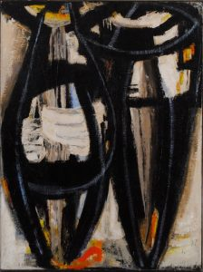 "Dusti Bonge, ""Untitled (Two Abstract Figures in White, Blue and Black)"" (c. 1955) oil on masonite, 48 x 36 inches"