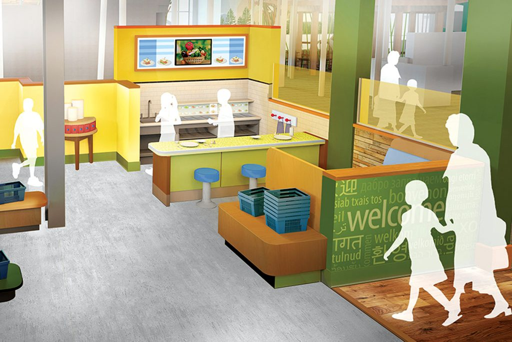 Artist's rendering of the entrance to the Scott Family Amazeum café.