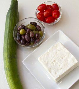 Greek Salad Kabob ingredients