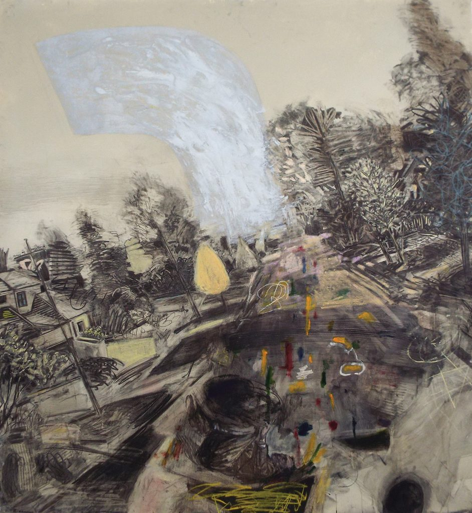 "David Bailin, ""Slippage,"" 2014, charcoal, oil, pastel, and coffee on prepared paper, 78 x 83 inches, Grand Award Winner"