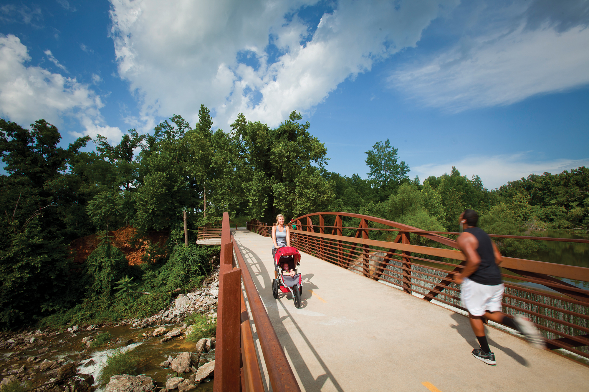 Lake Fayetteville Spillway Bridge, part of the 5.5 mile Lake Fayetteville loop and the larger 36-mile Razorback Regional Greenway.