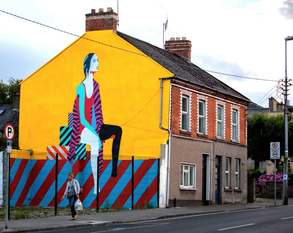 """A 2014 Maser mural in Limerick, Ireland, depicting his use of vibrant colors and """"unassuming techniques emphasizing simplicity of form."""""""