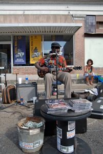 Busking at the King Biscuit Blues Festival, Helena-West Helena