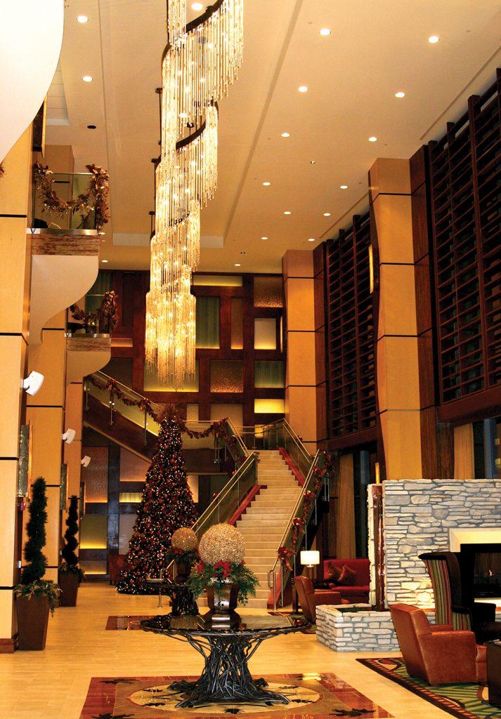 Hilton lobby at Christmas