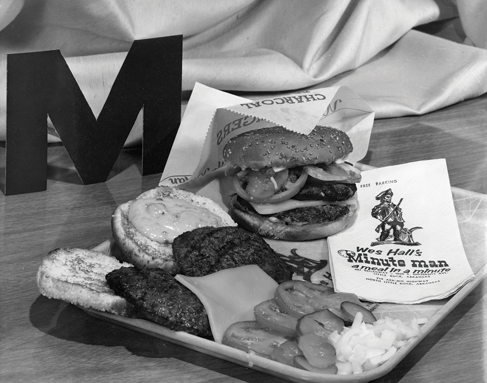 "Minute Man's ""Big M,"" the first extra-large burger in the business,"