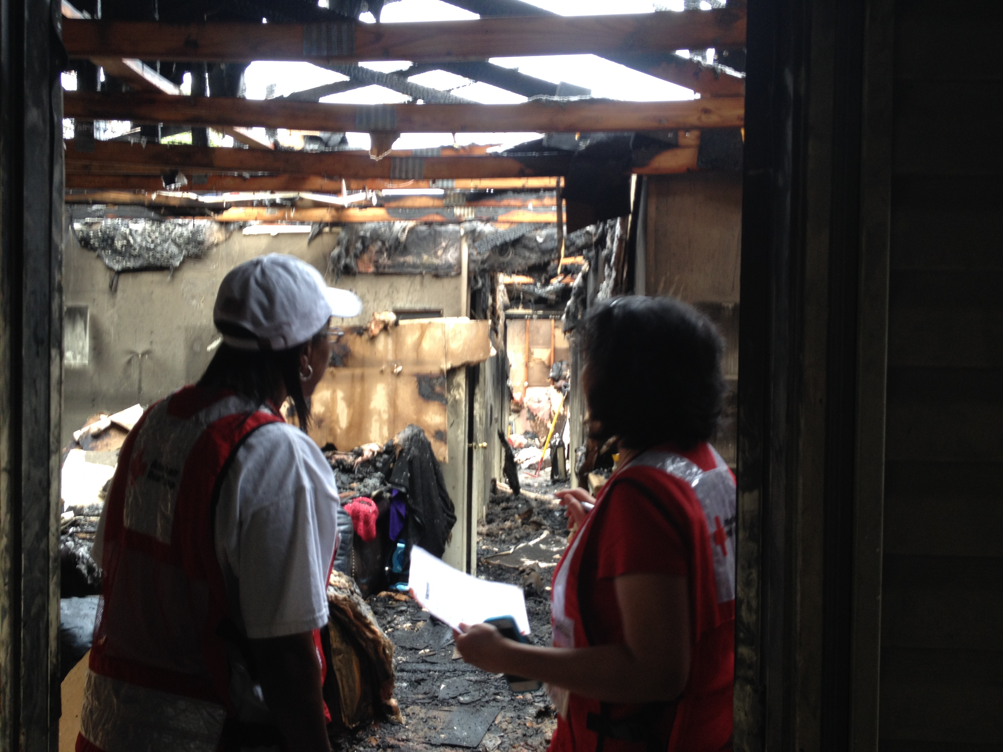 American Red Cross Responders note damage from early morning fire in Maumelle.