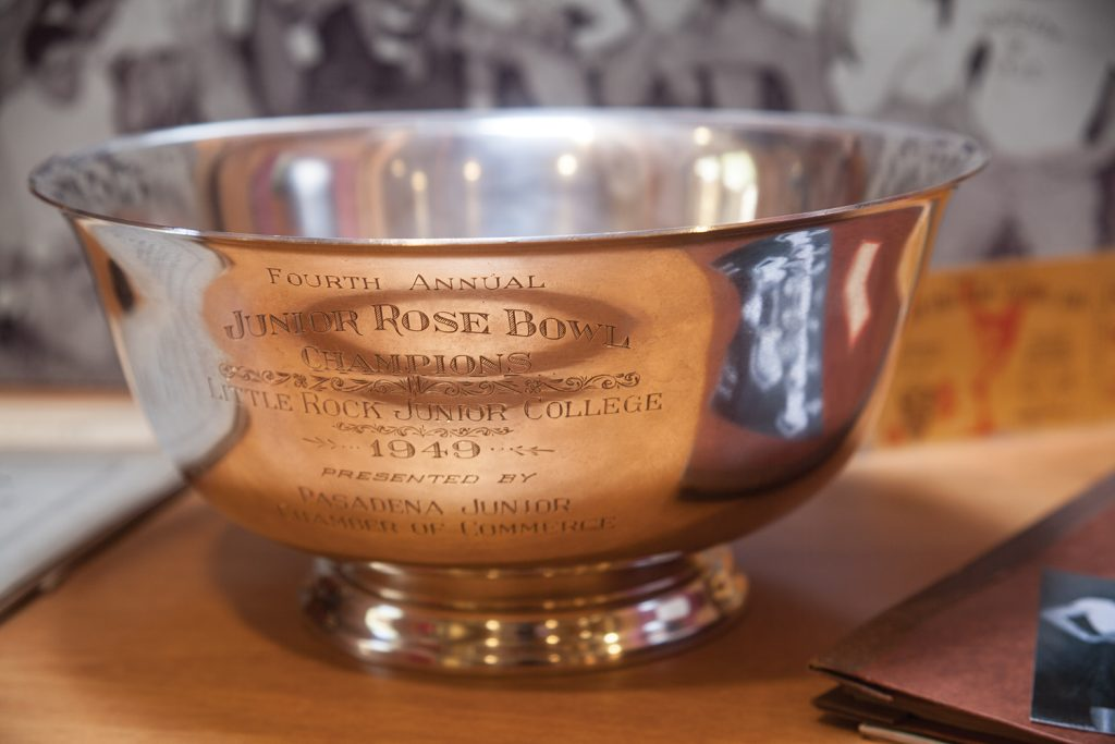 The championship trophy awarded to the LRJC Trojans, the 1949 Junior Rose Bowl Champions won in a 25-19 victory over Santa Ana Junior College at the 1949 Junior Rose Bowl Championship in Pasadena, California. The win capped the greatest football season in LRJC's history.