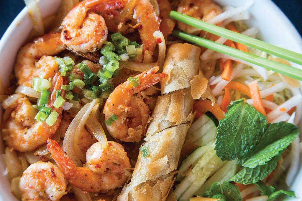 Bun Tom Nuong, grilled shrimp with lemon grass, vermicelli, lettuce, bean sprouts and cucumbers at The Green Papaya.