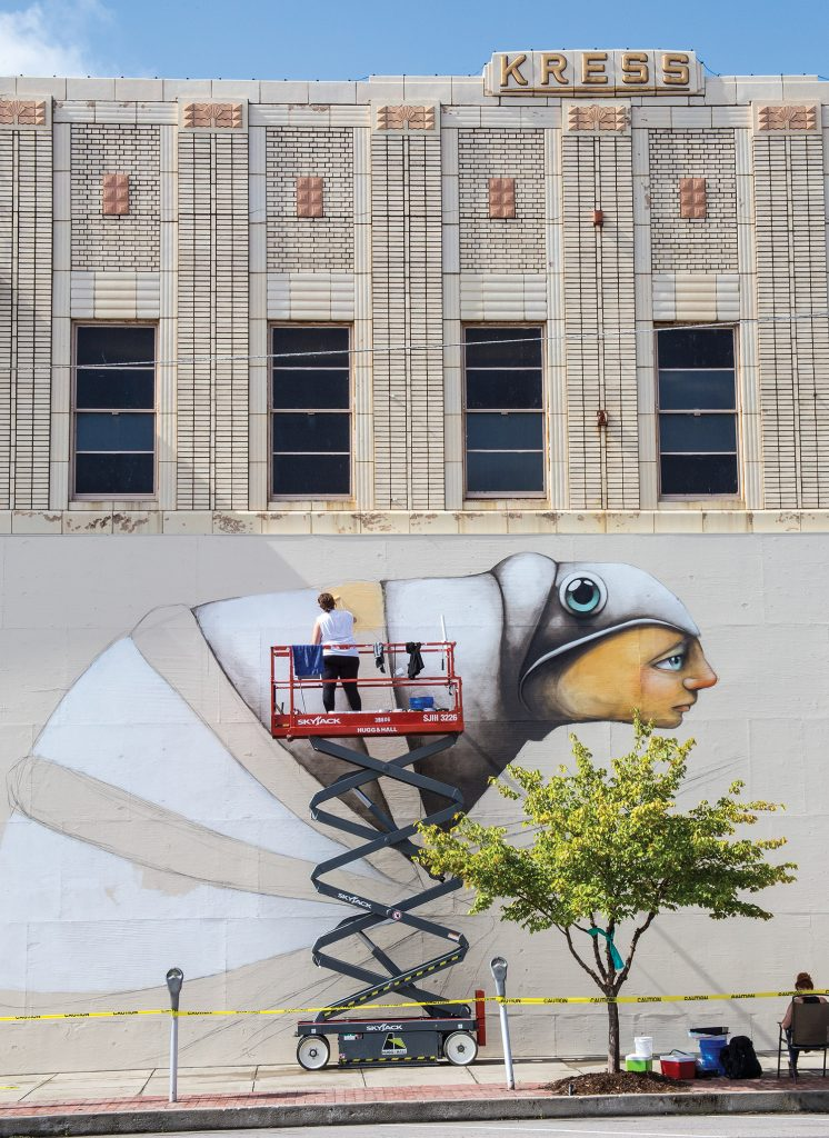 """A mural in progress for """"The Unexpected,"""" the state's largest public mural project."""