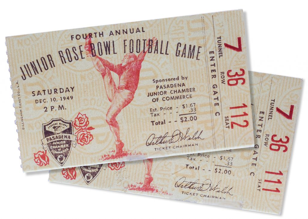 Ticket stubs from the championship game for seats Tunnel 7, Row 36, seats 111 and 112.