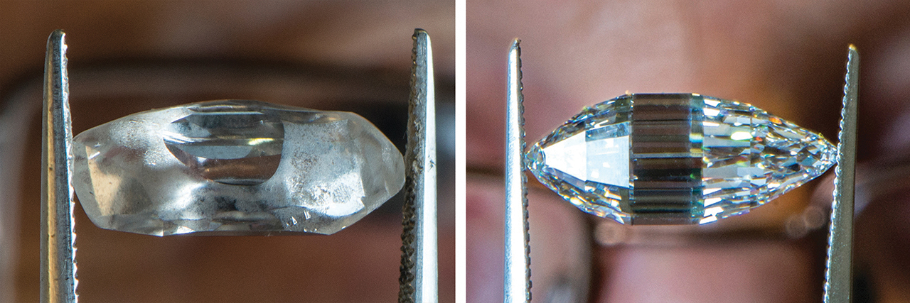 (left) Esperanza in her raw form; (right) Esperanza as she is today, a flawless 147-facet white diamond.