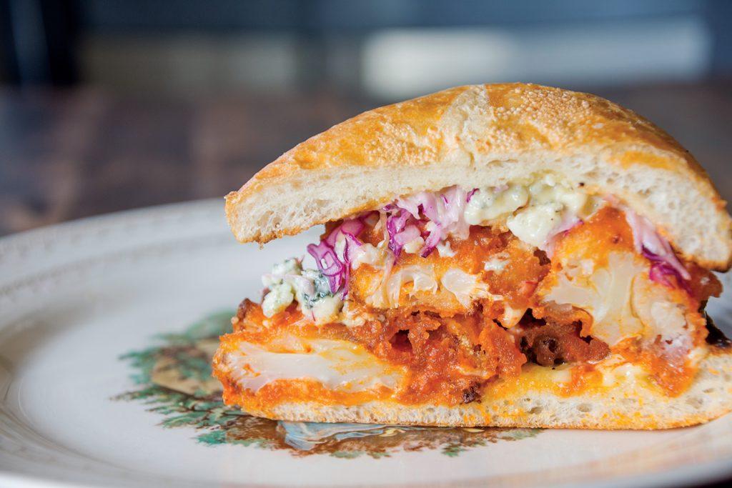Heirloom's buffalo cauliflower sandwich