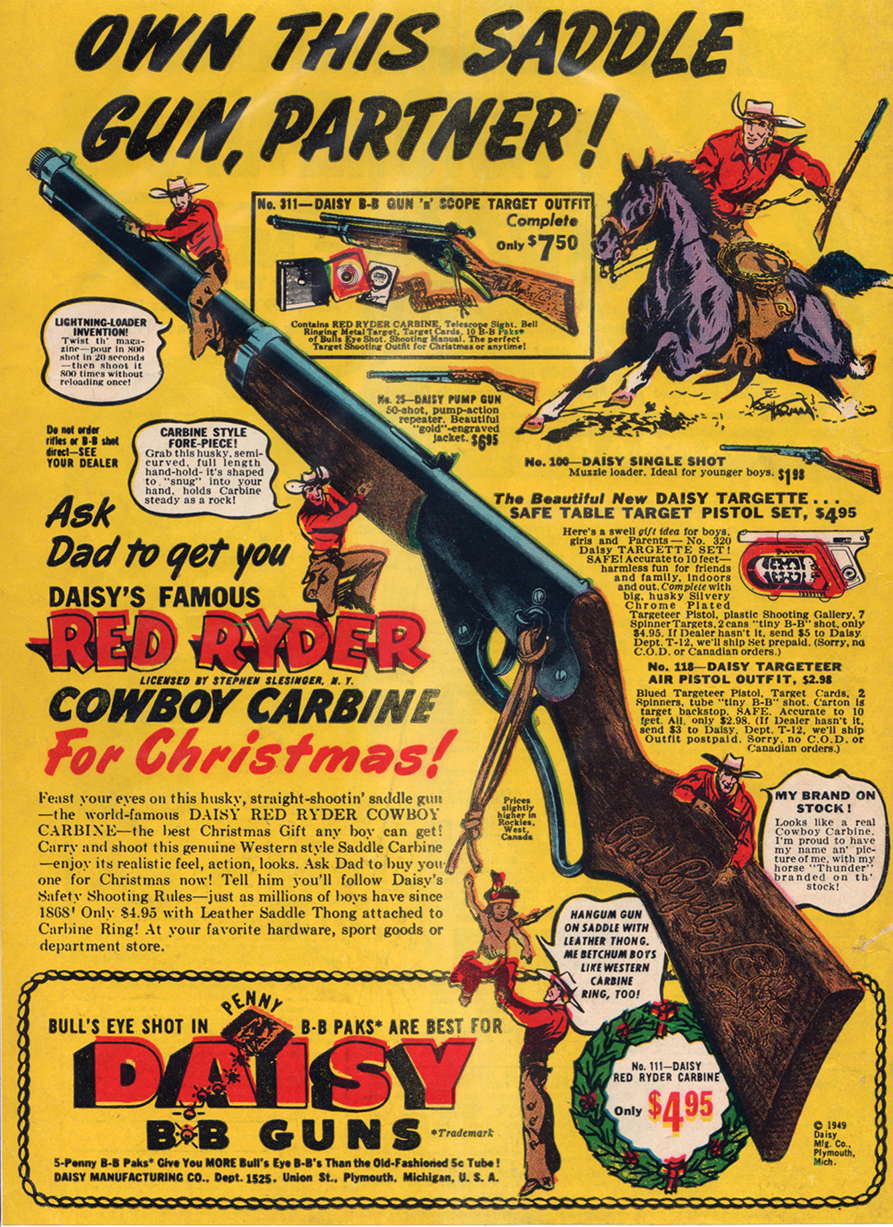 a 1949 advertisment for Red Ryder Saddle Gun