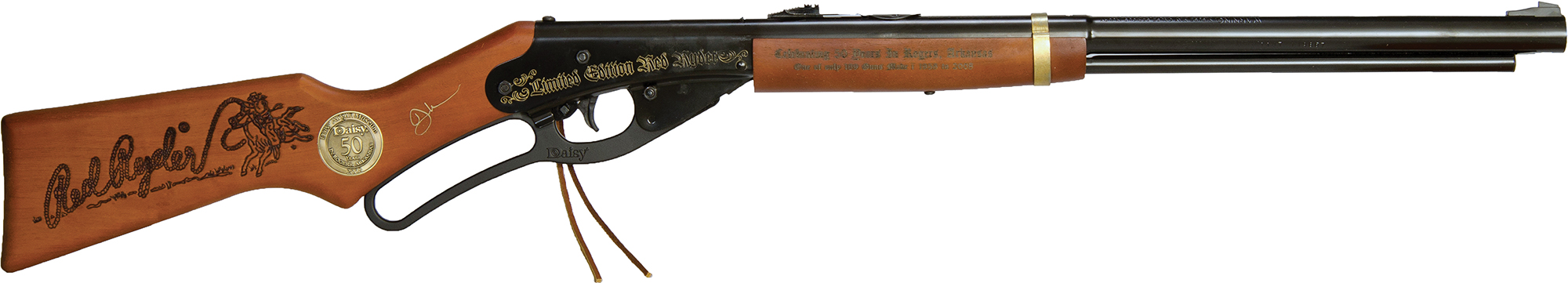 A limited edition engraved Red Ryder BB gun commemorating 50 years in Rogers, Arkansas.
