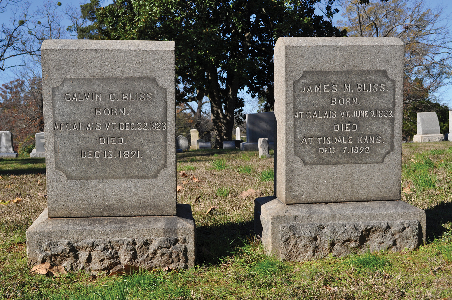 the gravesites of Calvin and James