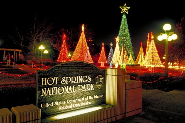 Holiday lights display at Hot Springs National Park