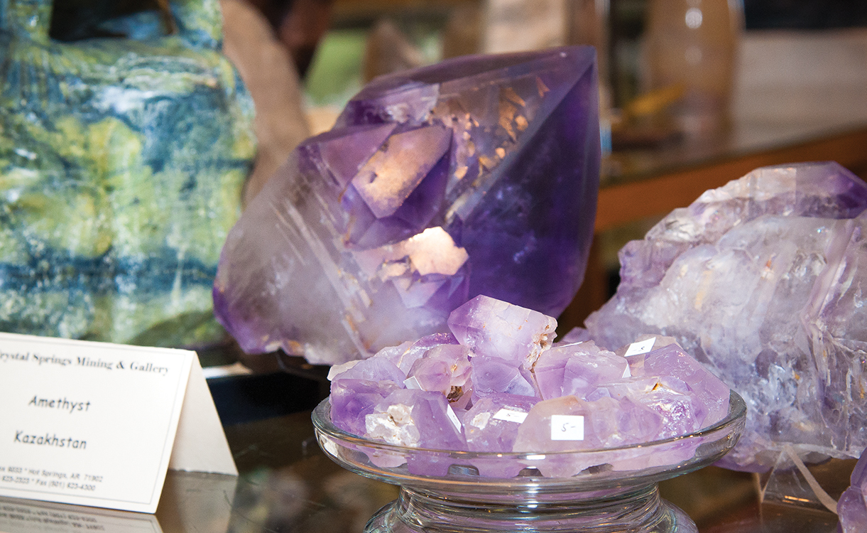 Amethyst crystals at Crystal Springs Gallery