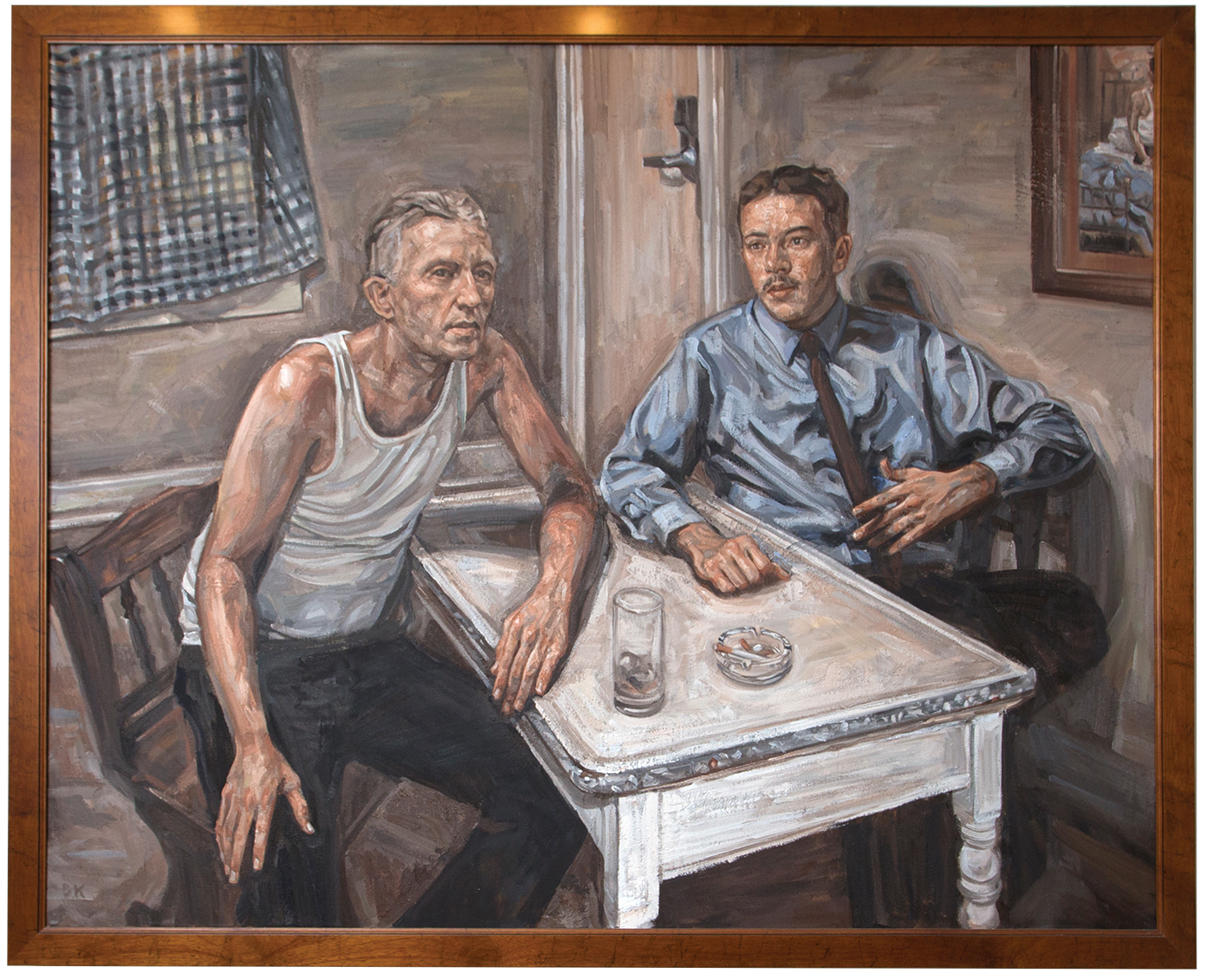 """Bill and Ebby,"" a painting by local artist Baxter Knowlton gifted to the Wolfe Street Center; based on a portion of ""Bill's Story"" from the Big Book, the basic text of the original 12 steps of recovery. It depicts Ebby T. sharing with Bill W. how he got sober."