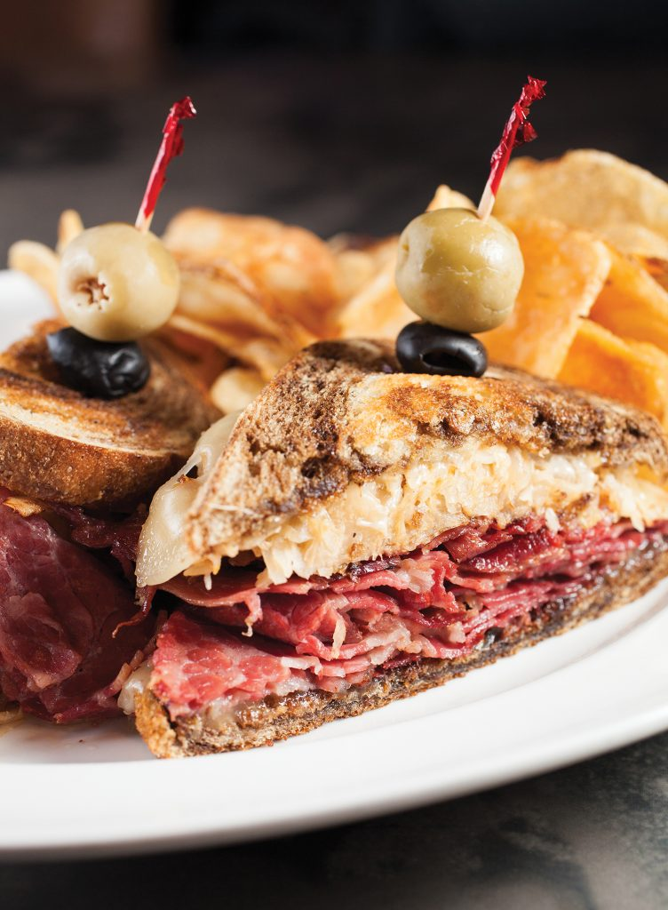Grilled Reuben with housemade chips at Silks