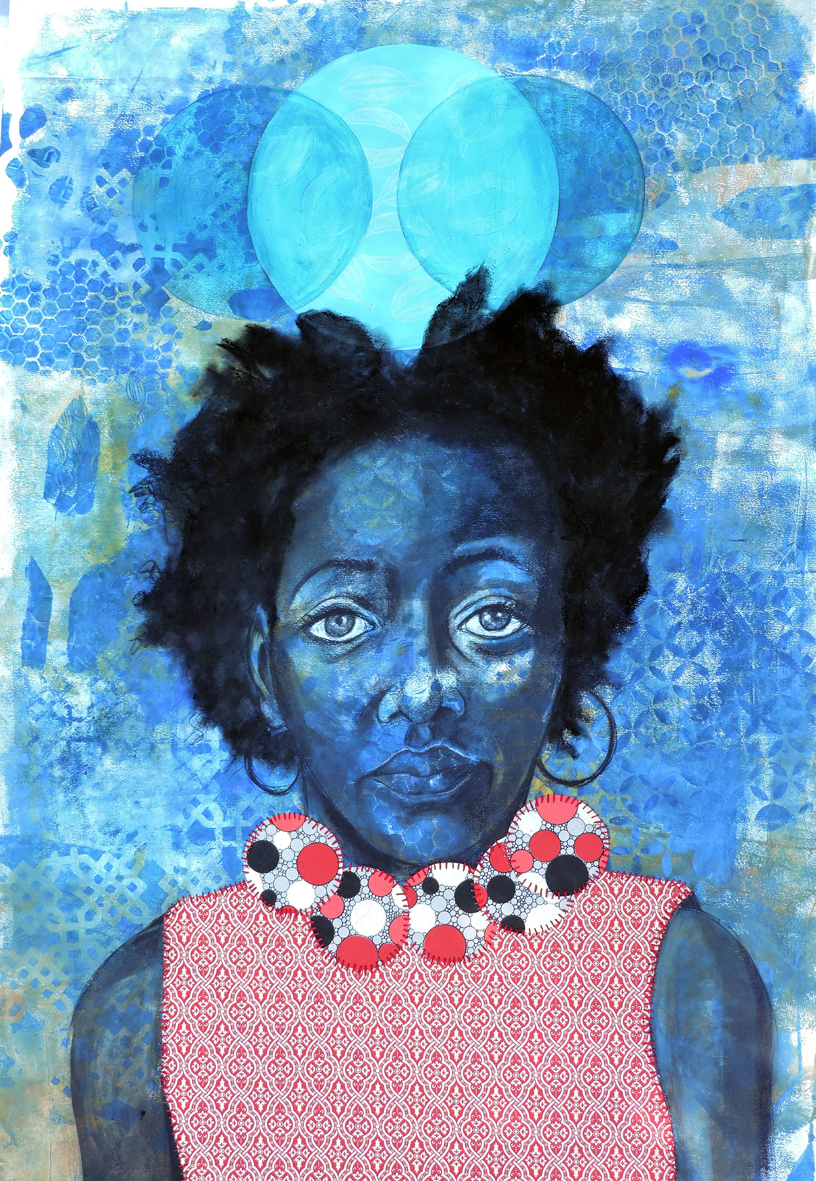 'Self Portrait,' Gelatin Printing, Conte, Collage, Hand-stitching, 48 x 50, 2015 (Martin)