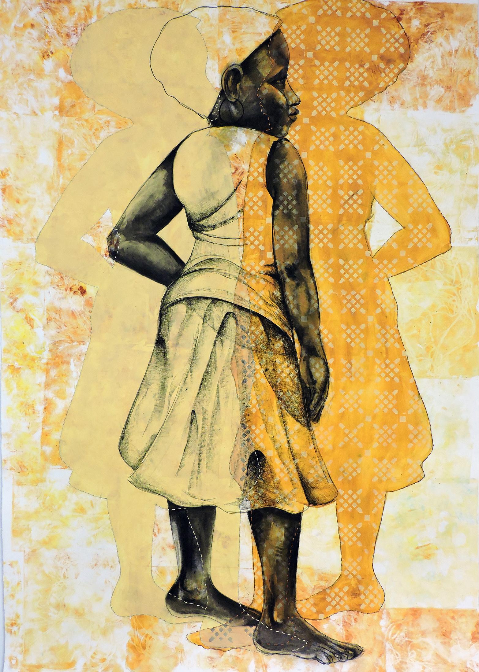 'The Women Gathered,' Gelatin Printing, Conte, Acrylic, Hand-stitching, 51.5 x 74.5, 2015; (Martin)