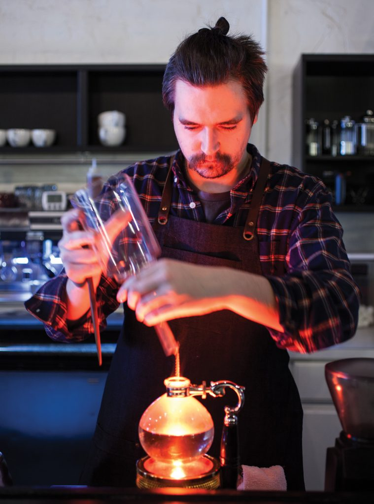 siphon brew method at Blue Sail Coffee