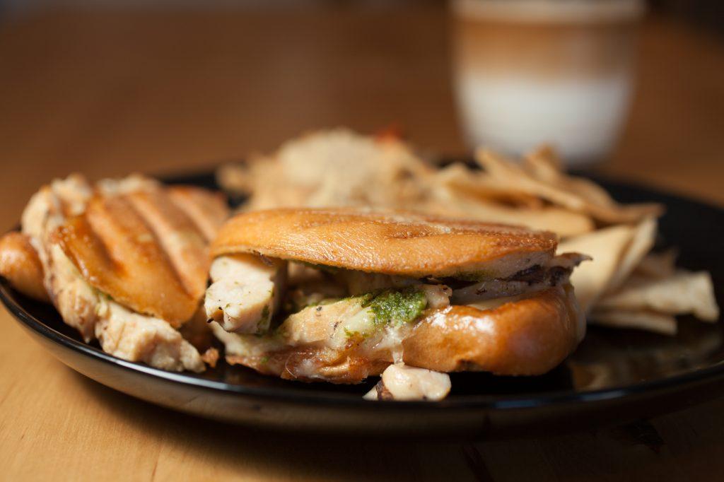 Turkey panini with sweet onion and pesto sauces