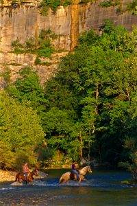 Horseback riding in the Buffalo National River Wilderness Area.