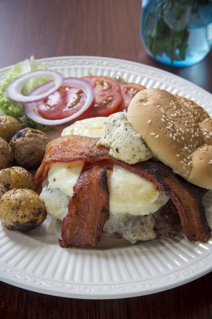 the Fork and Knife burger with oven-roasted mini-potatoes