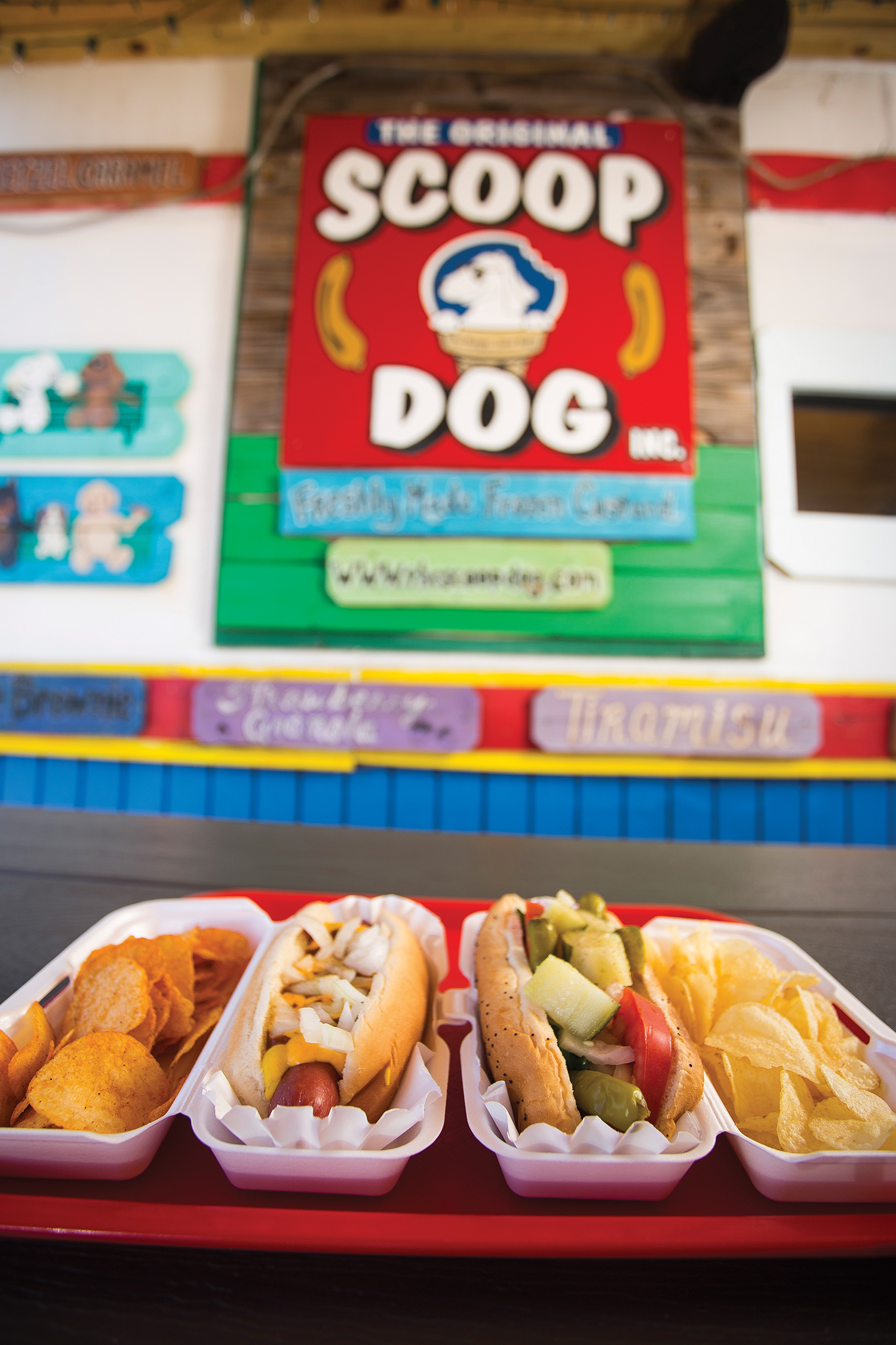 Scoop Dog hot dogs, The Detroit Dog (left) and The Chicago Dog (right)