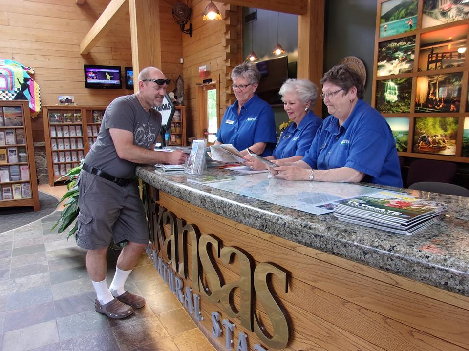 Friendly staff greets incoming travelers at the Corning Welcome Center.