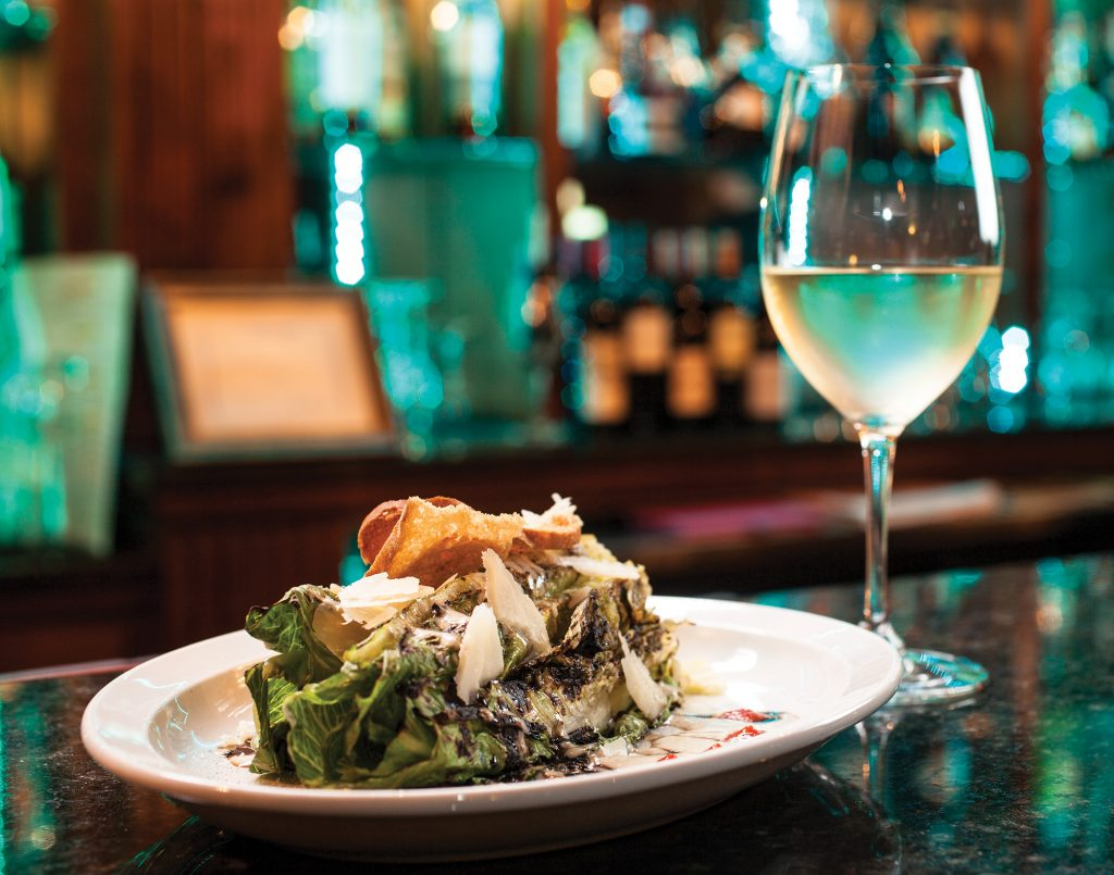 grilled Caesar salad and the beautiful full bar