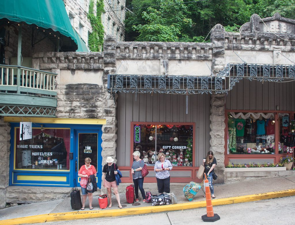 Spring Street in downtown Eureka Springs is the place to go to fill your shopping bags.