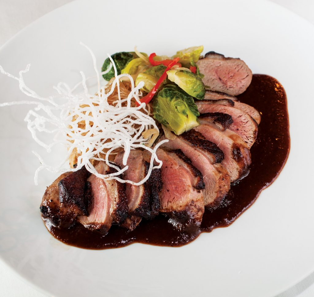 asian duck breast entree at Le Stick Nouveau