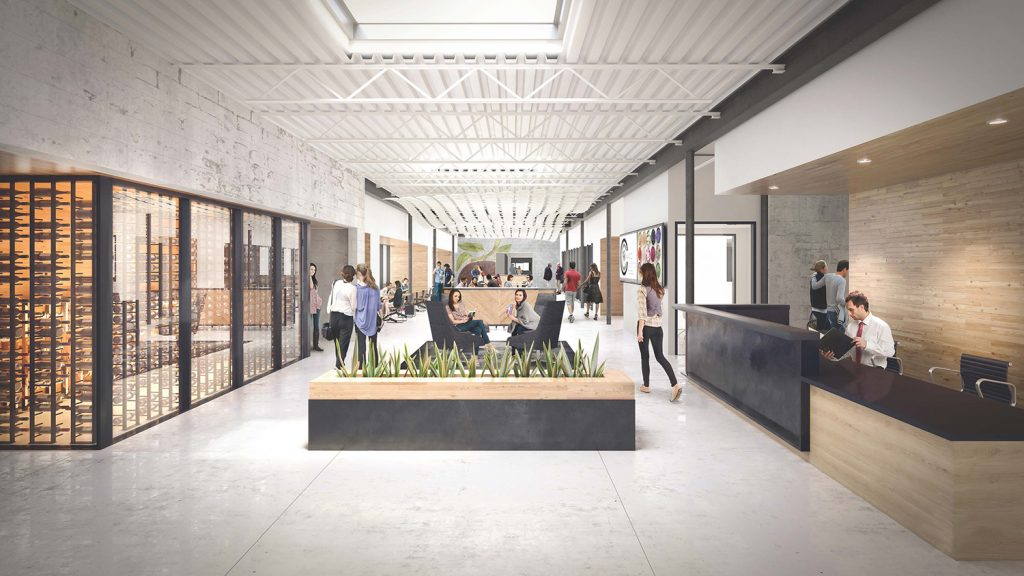 core entryway for Brightwater Facility on Eighth Street in Downtown Bentonville; rendering by Hufft Projects