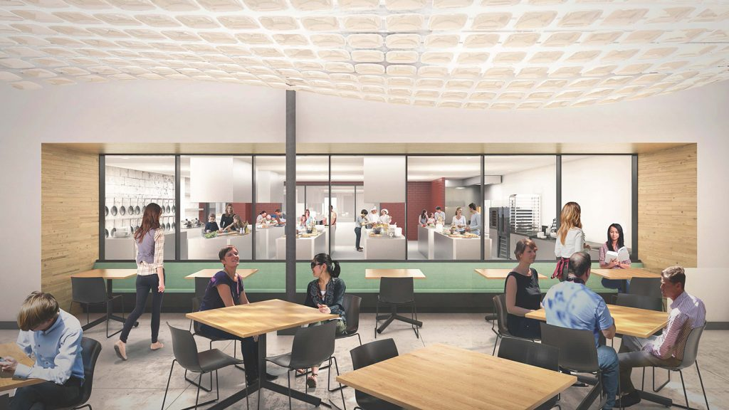 Brightwater Facility commons area with kitchen observation deck; rendering by Hufft Projects