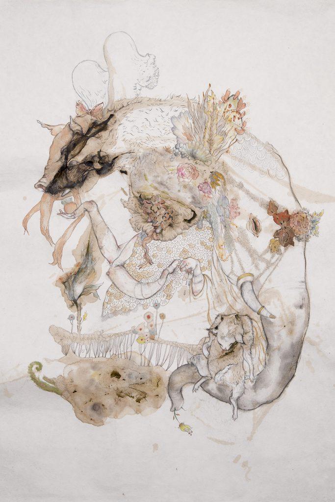 """The rain does its work"" pencil, watercolor, gouache, ink, algae, wallpaper_ 30.5_ x 22__ 2014; Courtesy of SAAC"