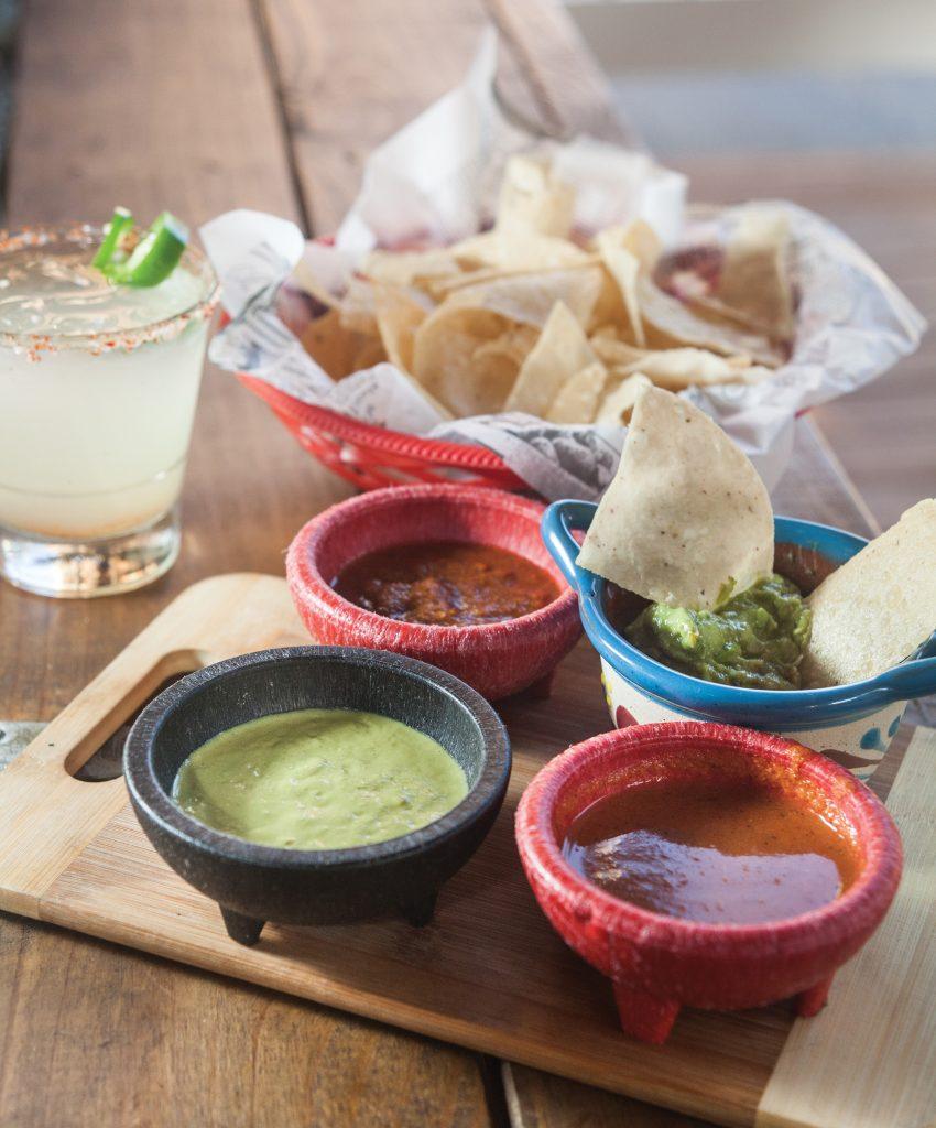 Vina Morita la terraza's salsas, housemade chips and one of the margaritas from their popular margarita flight