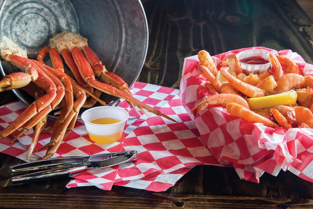 Crab legs and shrimp are always on the menu with catfish.