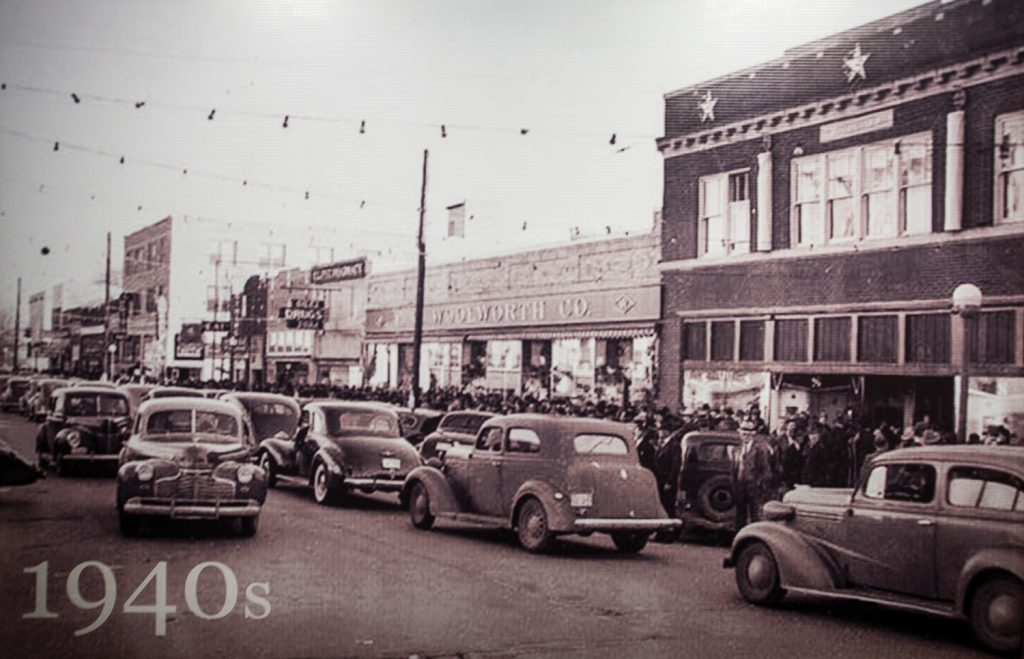 Main Street El Dorado has been a bustling street for decades. A display of the town through the decades is on showcase at The South Arkansas Historical Preservation Society.