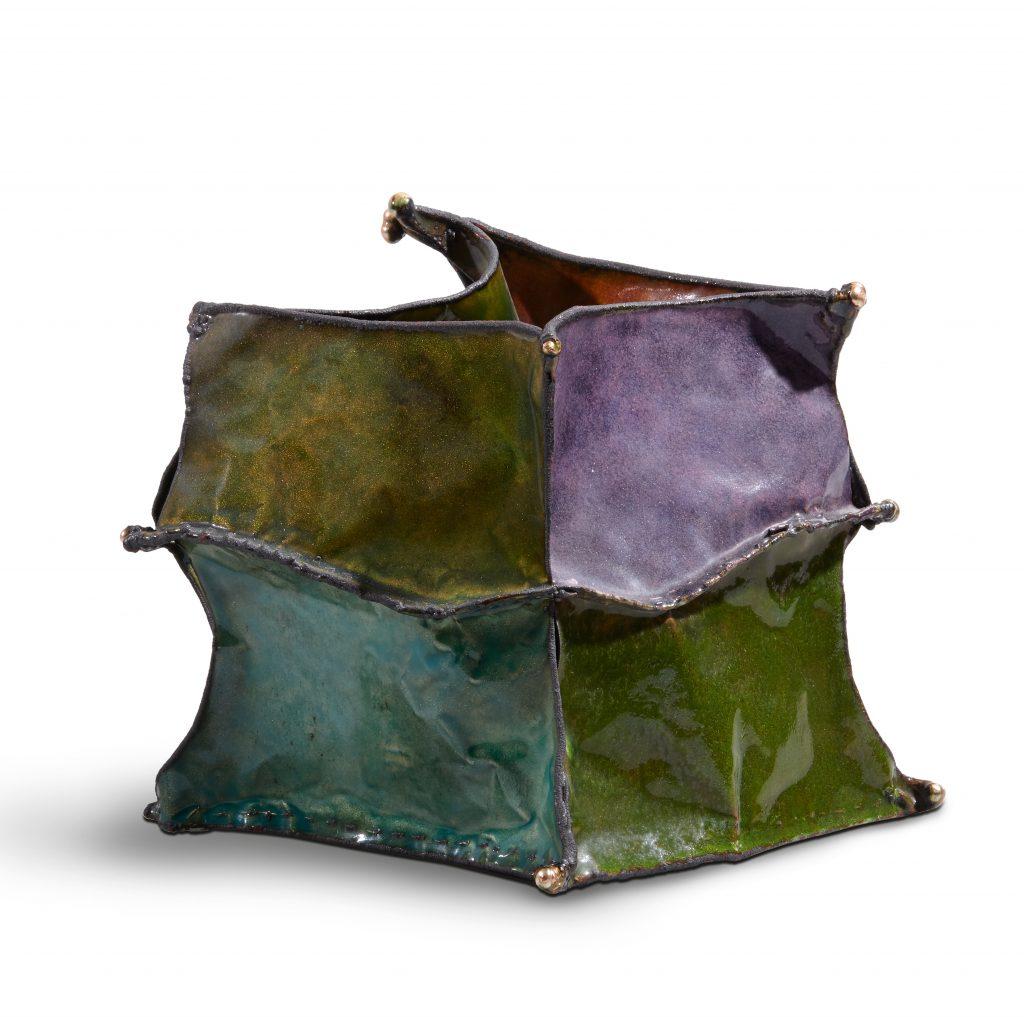 "June Schwarcz (1918 – 2015), Vessel #2193 ""Dancer"", 2001, Electroformed copper foil, enamel, 8 x 8 5/8 x 10 in., Collection of the Enamel Arts Foundation, Photo by Jairo Ramirez"