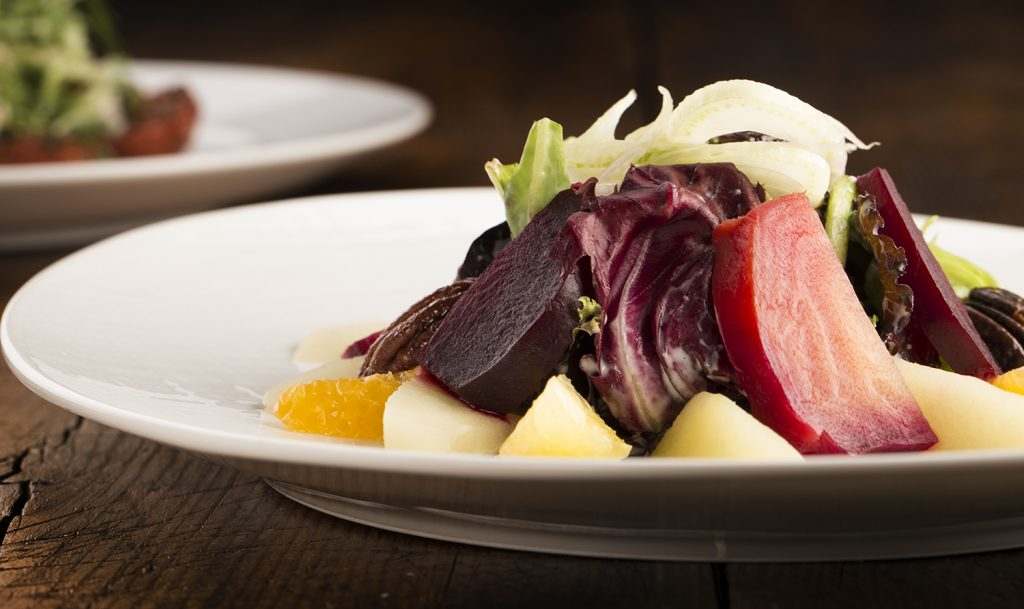 Cache's heirloom beet salad features red, yellow and candy-striped beets, depending on the season and availability.