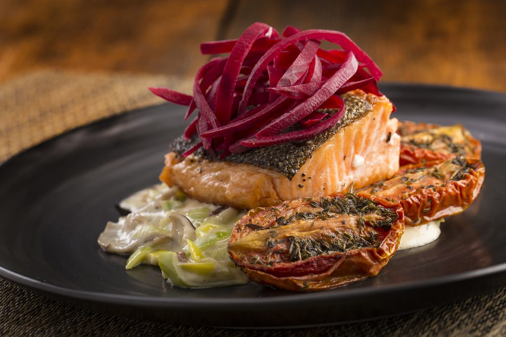 The Tasmanian salmon is well-complemented by creamed leeks and maitake mushrooms.