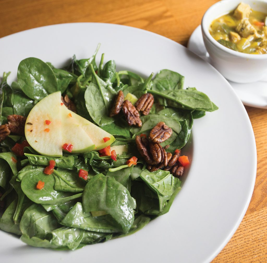 Southern favorites like pork loin and cheese grits grace the café's menu as well as home made soups, salads and more featuring vegetables and fruits from the nearby Wilson Garden.