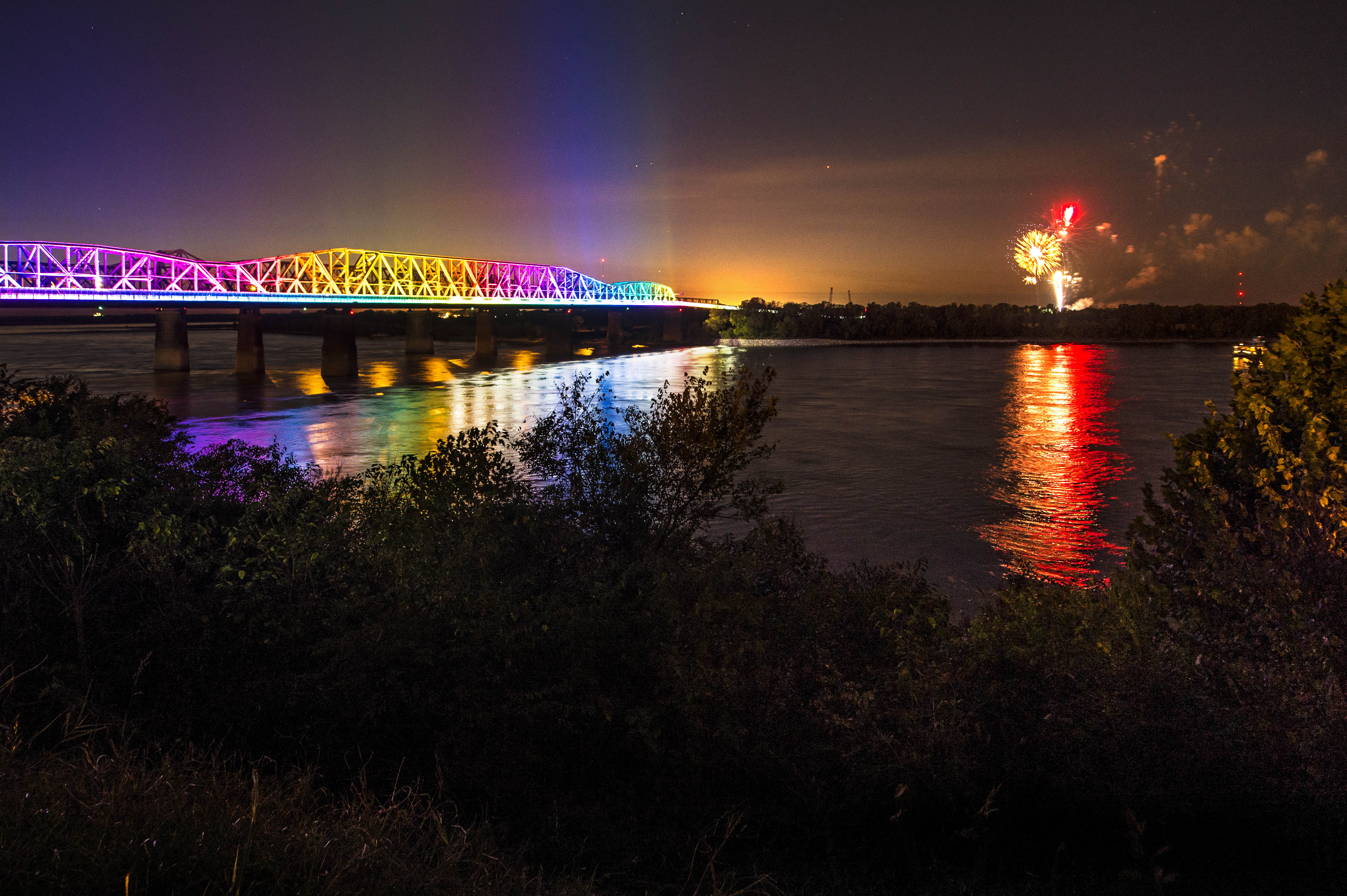 Fireworks during the Big River Crossing Dedication Ceremony