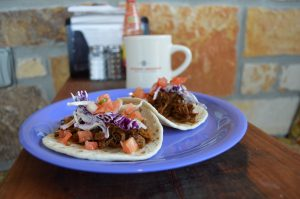 Soft shell tacos are some of the Mexican inspired dishes on The Pinto's breakfast and lunch menu.